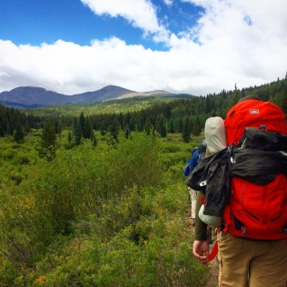 Hiking to camp